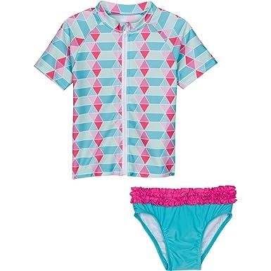 57c1896c10 Amazon.com: SwimZip Little Girl Zip Rash Guard Swimwear Set UPF 50+ ...
