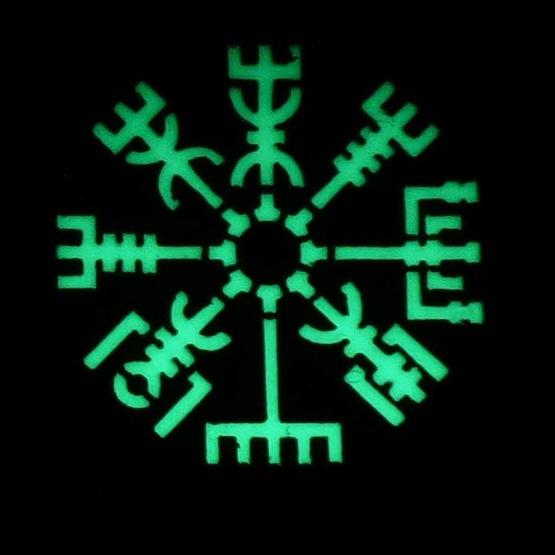 Glow Dark Vegvisir Viking Norse 2x2 GITD Tactical Morale Fastener Patch