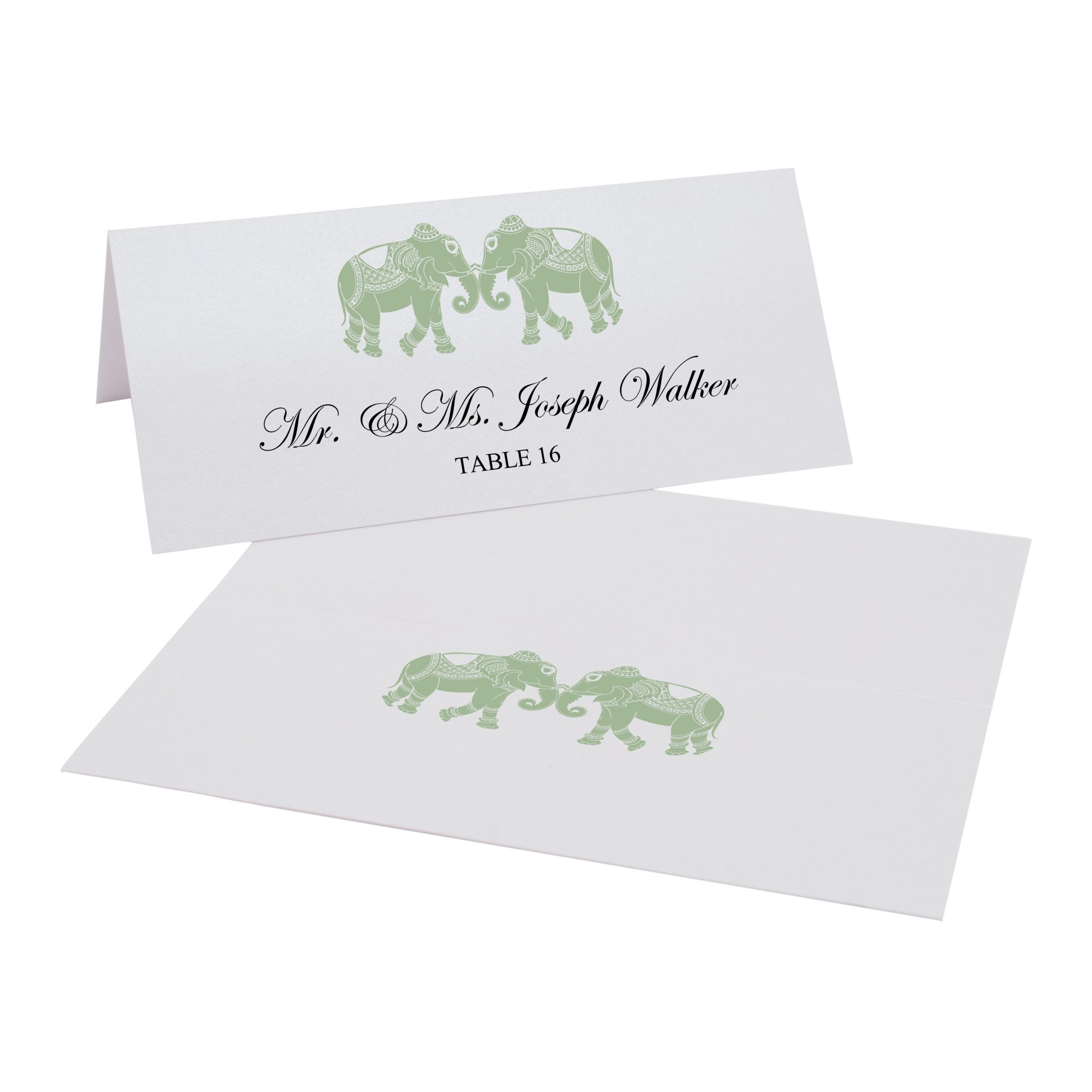 Indian Elephants Easy Print Place Cards, Pearl White, Sage, Set of 425 (107 Sheets) by Documents and Designs