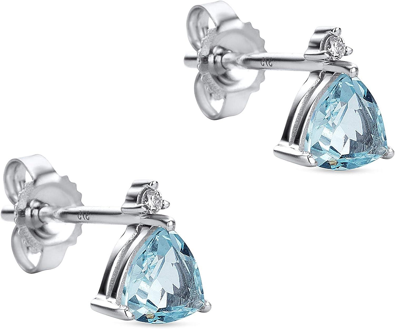 orovi Mujer Pendientes diamante pendientes pendientes set, Oro Blanco 9quilates (375) con aguamarina
