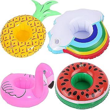 Posavasos de Flotador Flamingo & Frutas Titular de Bebida Inflador 4 Pcs Colchonetas y Juguetes Hinchables