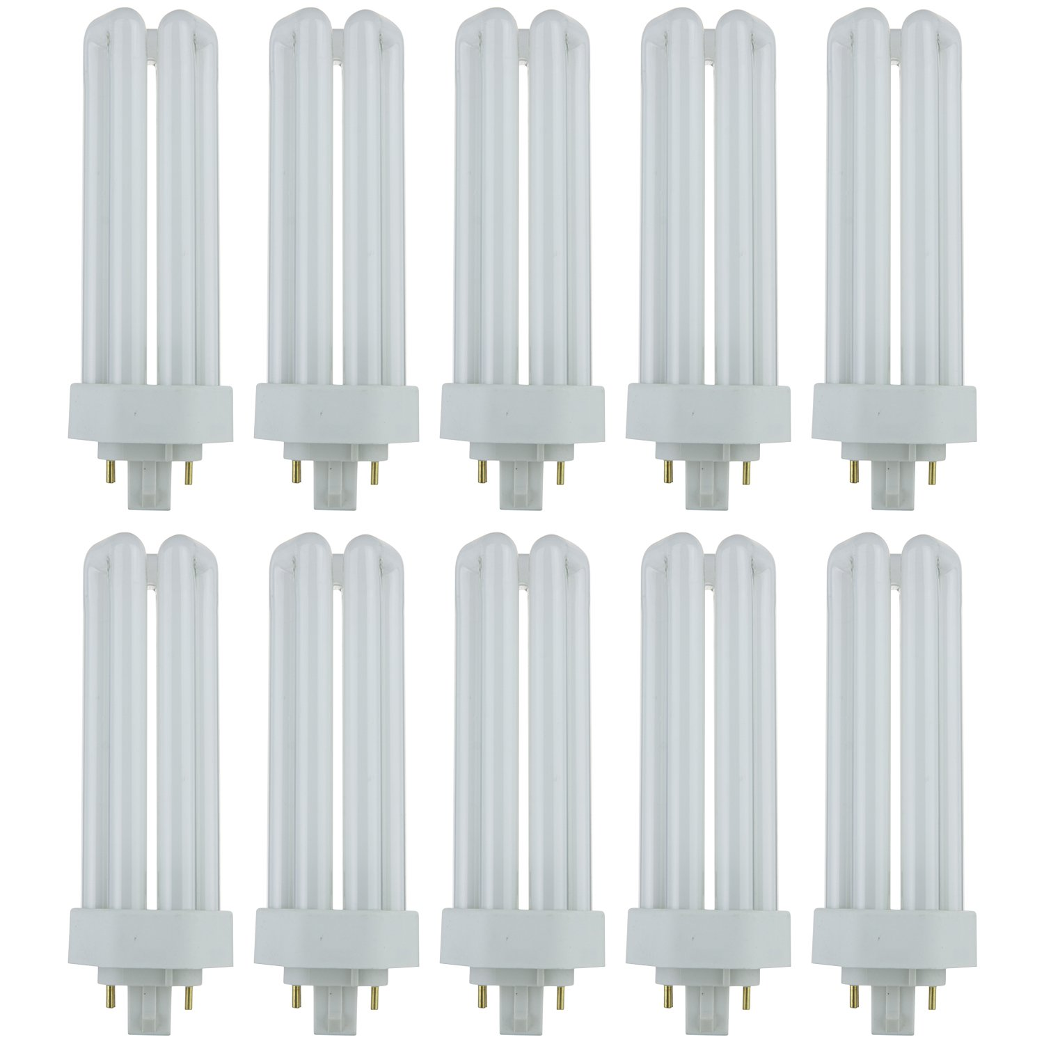 Sunlite PLT32/E/SP50K/10PK Fluorescent 32W PLD Triple U-Shaped Twin Tube CFL Bulbs, 4-Pin GX24Q-3 Base, 5000K Super White, 10 Pack, 5000K-Super by Sunlite (Image #1)