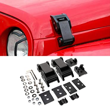 RT-TCZ Stainless Steel Hood Latches Hood Lock Catch Latches Kit for Jeep Wrangler JK JL 2007-2018 Unlimited Black