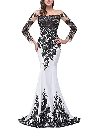 Annies Bridal Long Sleeve Evening Dresses Formal Mermaid Prom Gown