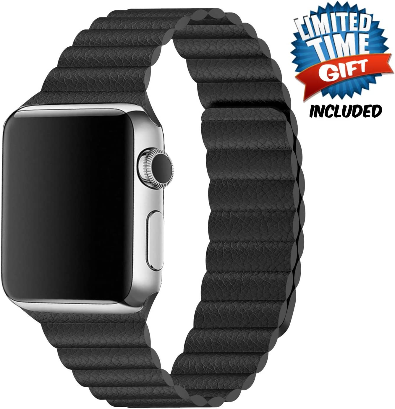 Inno-Huntz Leather Band Compatible with Apple Watch Band 38mm 40mm Replacement 2 Straps for Watch Series 4 3 2 1 Strong Magnetic Closure Wristband for Men Women Black