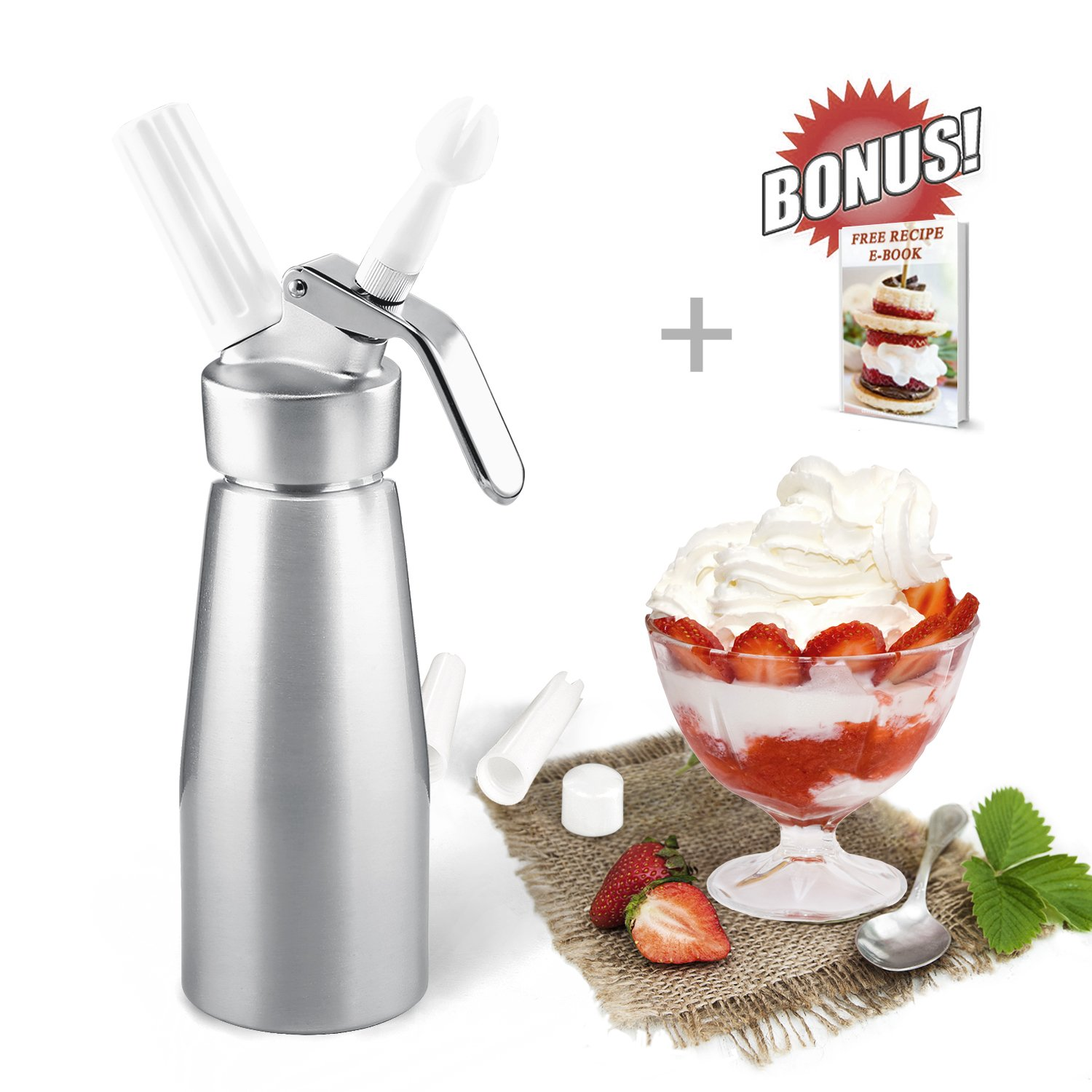 ZOEMO Professional Whipped Cream Dispenser 250ml - Cream Whipper With Sturdy Aluminum Body And Head - Half Pint Whipper Creates 2-3 Pints of Fresh Whip Cream