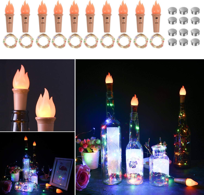 Vicloon Luces de Botellas, LED Corcho Luces de Colorido con Corcho de Llamas y Baterias de Repuesto, Lámparas Decoradas para Decoración Interior, Boda, Fiesta de Navidad - 10 Piezas: Amazon.es: Iluminación