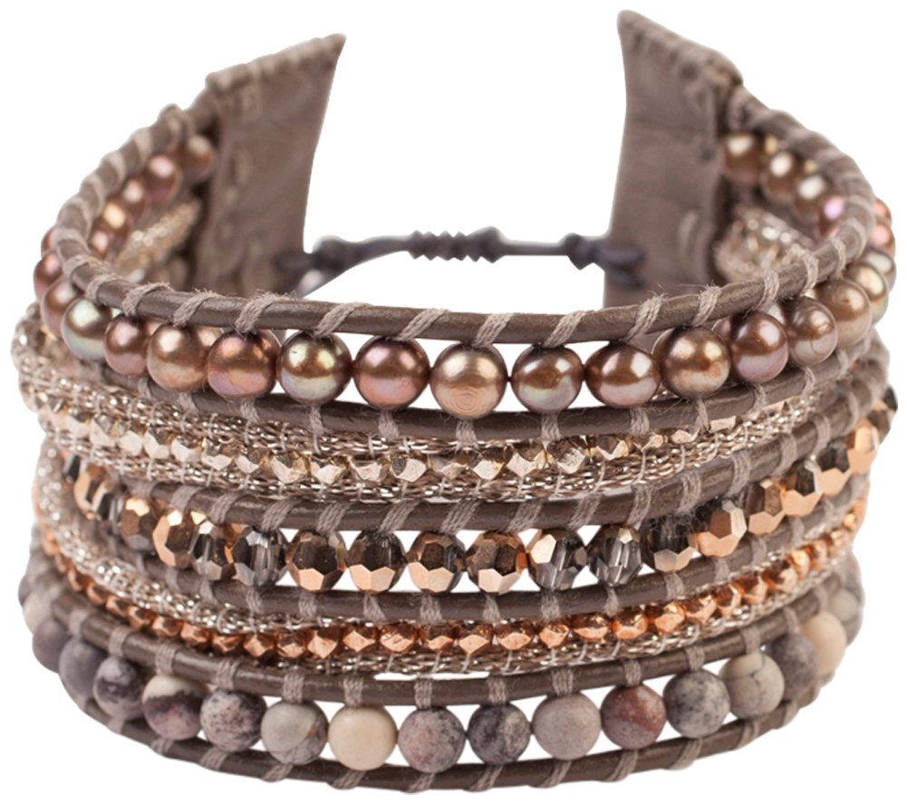 Chan Luu Taupe Freshwater Cultured Pearls, Crystals and Semi Precious Stones Bracelet