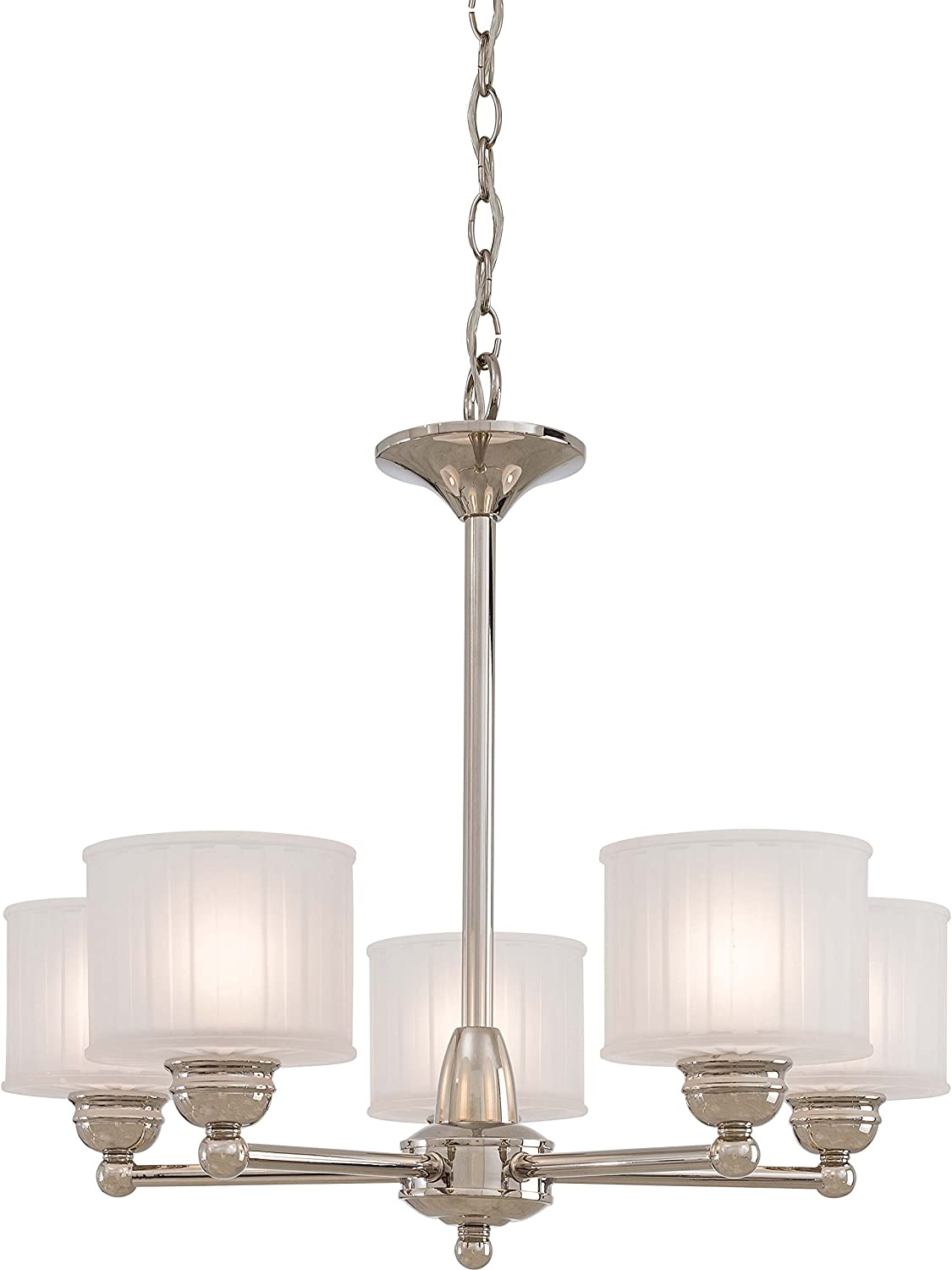 Minka Lavery Chandelier Pendant Lighting 1735-613, 1730 Series Glass Dining Room, 5 Light, 500 Watts, Polished Nickel