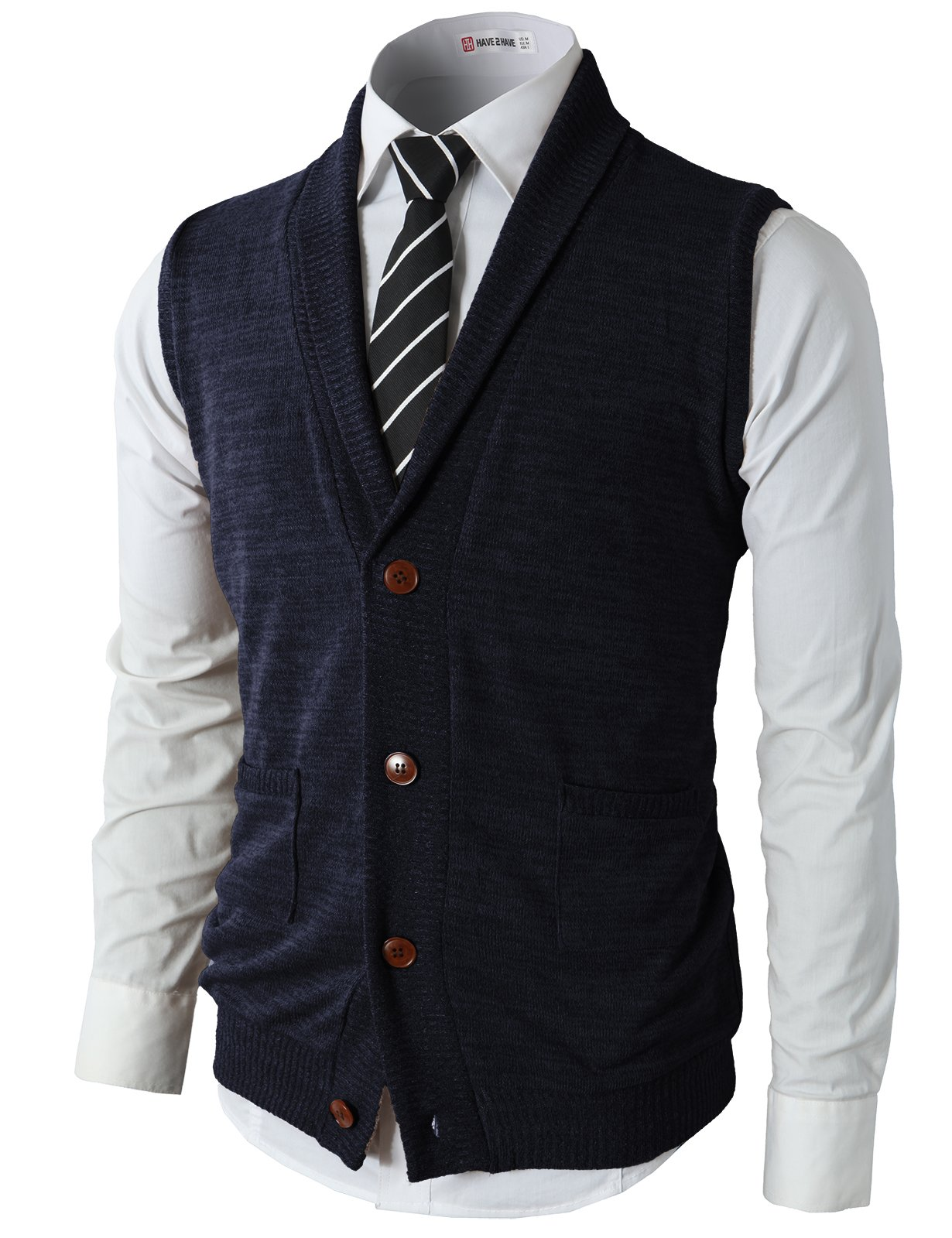 H2H Mens Casual Basic Shawl Collar Fine Knitted Slim Fit Vest Navy US L/Asia XL (CMOV034) by H2H (Image #1)