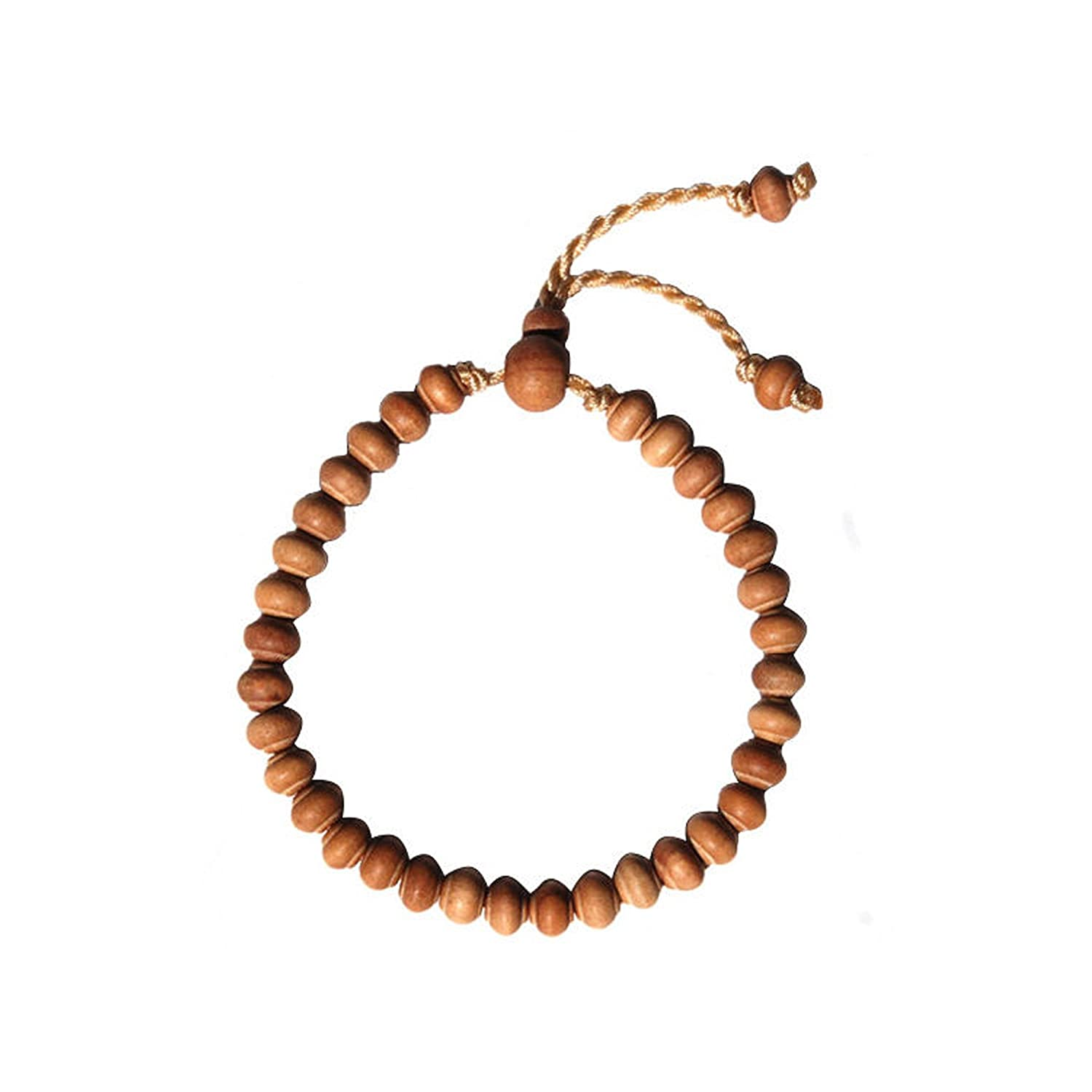 Small Hand-Made Adjustable Contoured-Bead Exotic Sandalwood Tasbih Bracelet 33-Beads for 7-8.5 inch Wrists TheTasbih