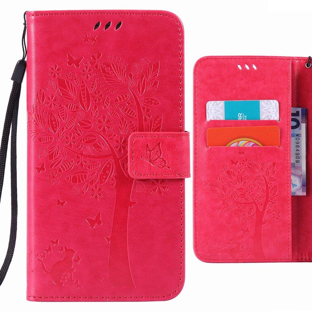 Coque Huawei P9 Lite (Huawei G9 Lite) Etui, Ougger Tree Cat Printing Portefeuille Housse PU Cuir Magnétique Stand léger Soft Silicone Protecteur Flip Pochette Bumper Caoutchouc Cover Case avec Fente pour Carte (Rose Rouge) OGZ10451