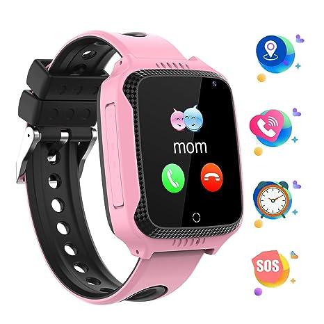 GPS localizador Reloj Inteligente para Niños Telefono, Tracker Podómetro Anti-pérdida Para Chico chica, Perímetro de Seguridad Cámera SOS Linterna ...