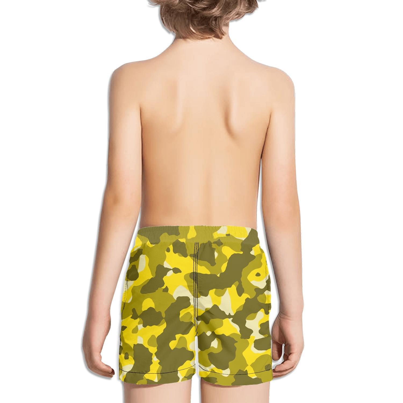Kid Yellow Leafy Camo Beach Shorts Jogging Water Sport Quick-Dry Boardshorts