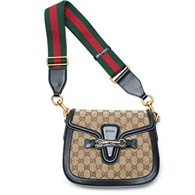 7e30da0a0f58 Gucci Lady Web GG Signature Authentic Black Leather Red Strap Italy New Bag