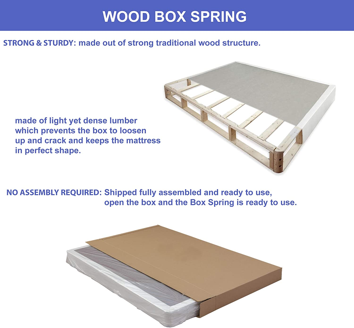 4-inch Foundation Box Spring for Mattress: Furniture & Decor