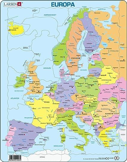 Larsen A8 Mapa político de Europa para los niños más pequeños, edición en Sueco, Puzzle de Marco con 37 Piezas: Amazon.es: Juguetes y juegos