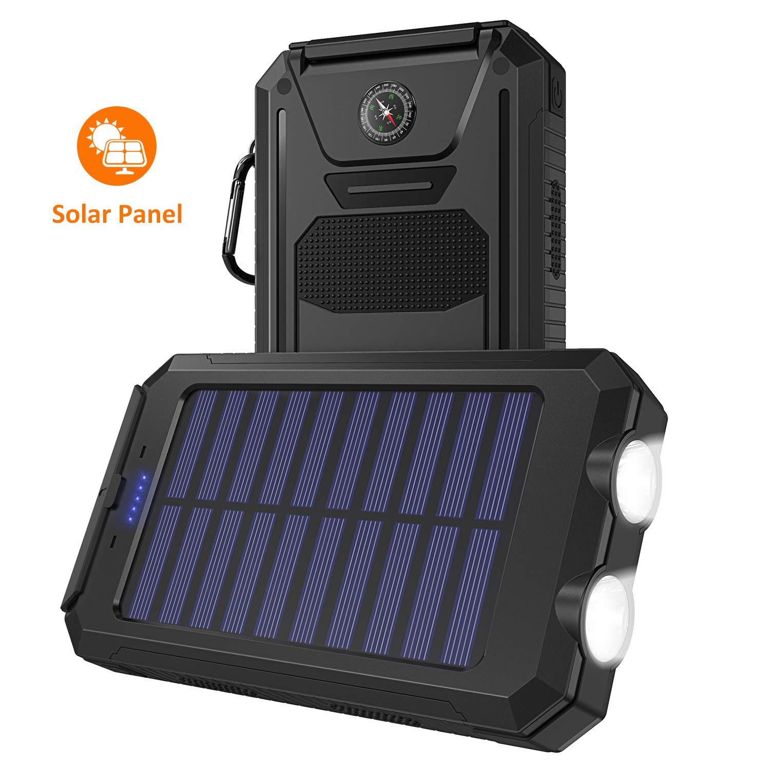 Solar Charger, STOON 10000mAh Portable Solar Power Bank Phone Charger with Flashlight & Compass for Outdoor Camping Travelling, External Battery Pack with Dual USB Ports for iPhone, iPad and More by STOON
