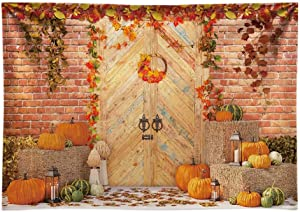 Funnytree 7x5FT Econ Polyester Fall Rustic Door Photography Backdrop for Birthday Cake Smash Wedding Decoration Pumpkin Farm Leaves Landscape Photo Background Autumn Photocall Photobooth