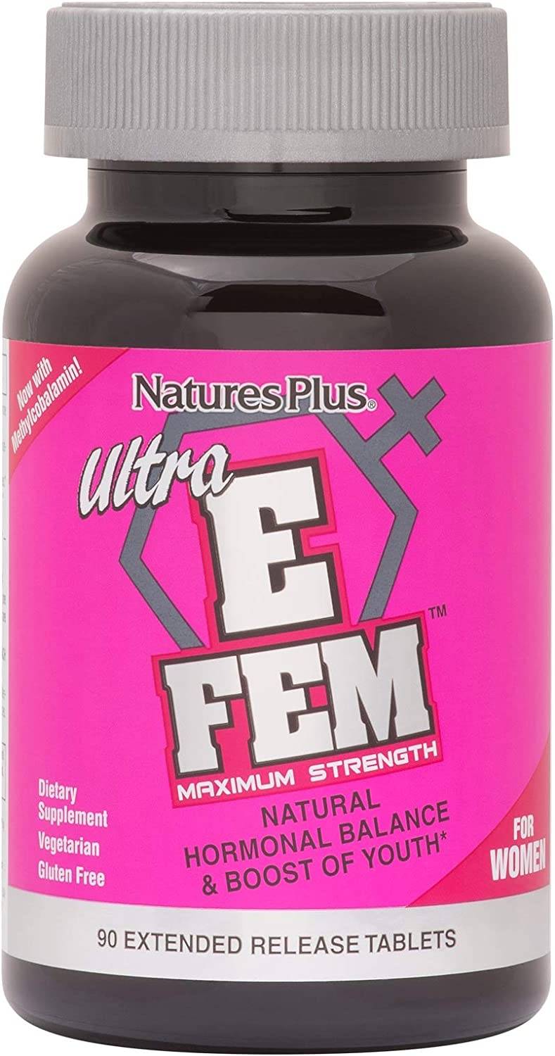 NaturesPlus Ultra E Fem Extended Release Tablets – 90 Vegetarian Tablets – Hormonal Balance – Promotes Healthy Libido, Sexual Health Sleep – Soothes Hot Flashes – Gluten-Free – 30 Servings