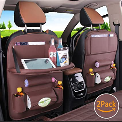 Aobeau 2 Pack PU Leather Car Backseat Organizer With Table Tray Ipad Holder Seat Back