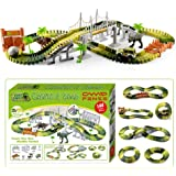 CampFENSE Dinosaur Toys (163Pcs Total, 144 Track Pcs) Electric Race Track Car Play Set Realistic Dinosaurs World Toy