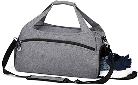 Rimposky Sports Gym Bag with Shoes Compartment,Waterproof Travel Duffel Bag for Men and Women(Small Gray)