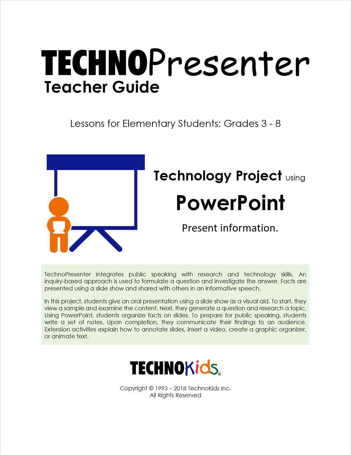 TechnoPresenter: Public Speaking Lessons for Kids, Tweens, and Teens, Google Slides Or PowerPoint Curriculum Unit (Office 2016)