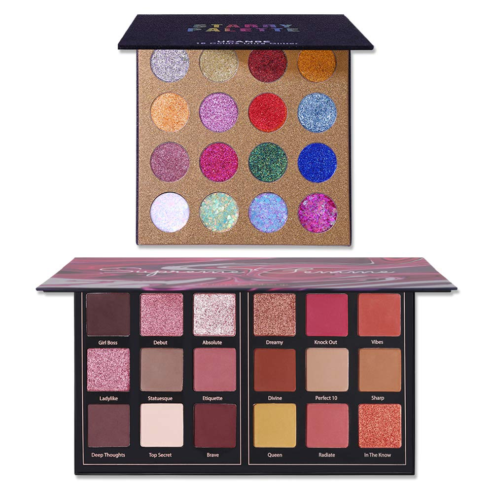 UCANBE Glitter Eyeshadow Palette Sequin Shimmer Pigmented 16 Colors Glitter Eye Shadow Prism Makeup 18 Colors Makeup Eyeshadow Palette Matte Shimmer Powder Long Lasting Makeup Pallet Set of 2