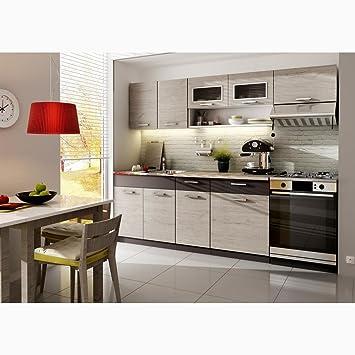 JUSTyou Moreno Küchenzeile Küchenblock Küche Farbe: Lava Picard ...