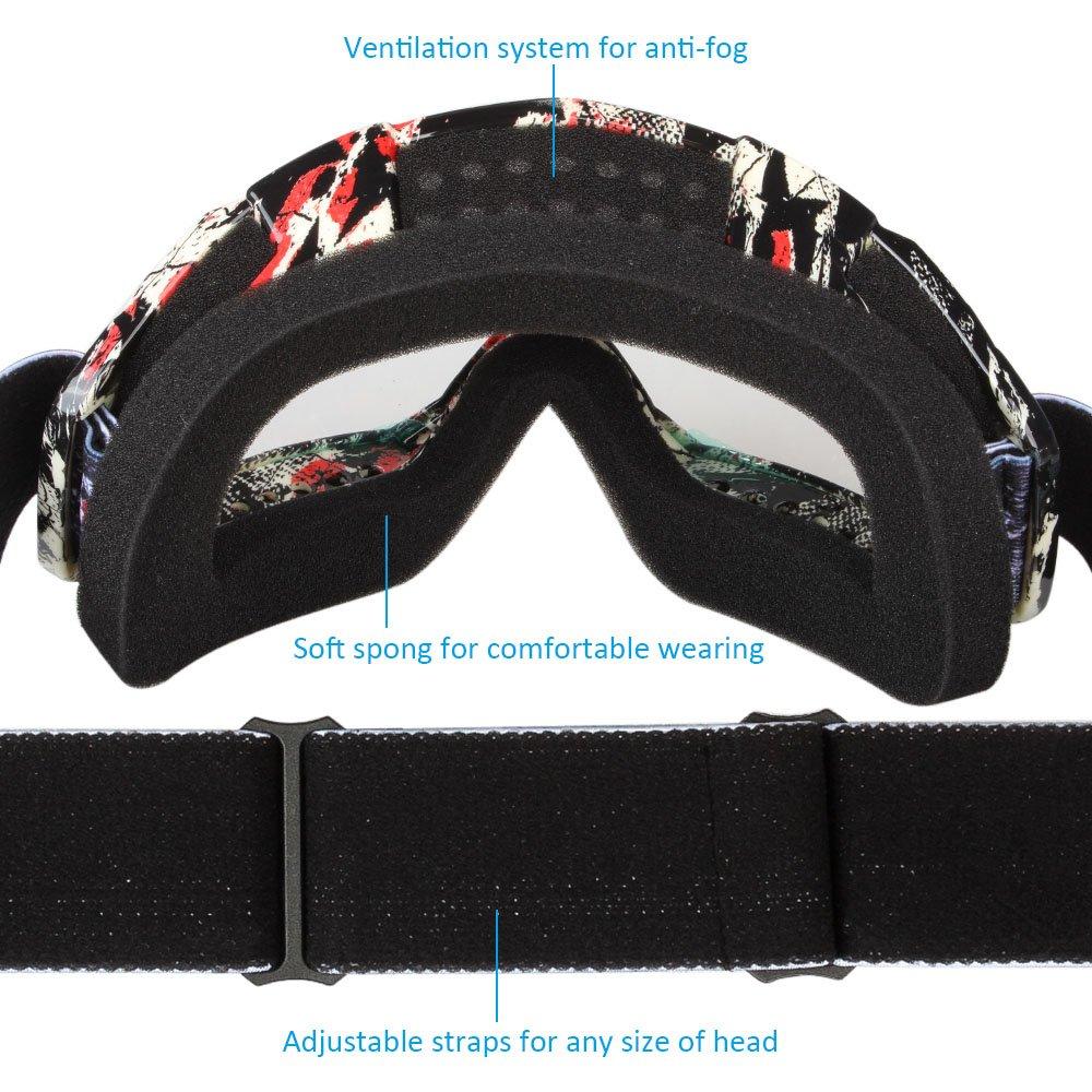Fodsport Gafas de moto Gafas crossed Gafas ciclismo Gafas Protección Mascara para Moto Motocross Esqui Deporte Ajustable (lente transparente D)