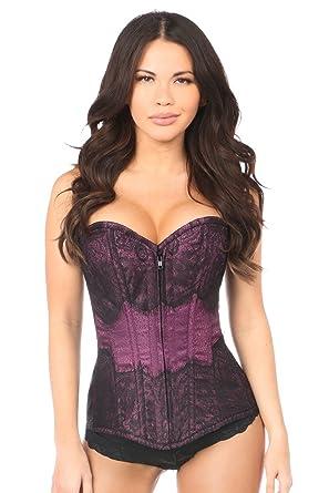 1529b008e3b Amazon.com  Daisy corsets Lavish Plum Brocade w Black Eyelash Lace ...