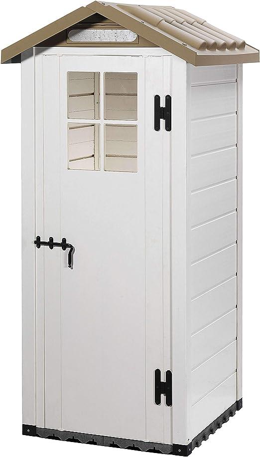Gardiun KSP38200 - Caseta de Resina Tuscany Evo 80 1 m² 97x97x203 cm Blanco/Beige: Amazon.es: Jardín