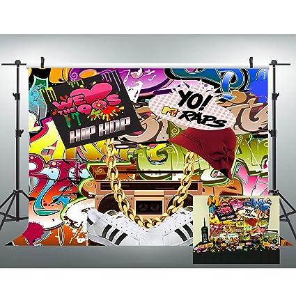 Amazon Com Vvm 7x5ft Backdrop 80 S 90 S Themed Party Decoration