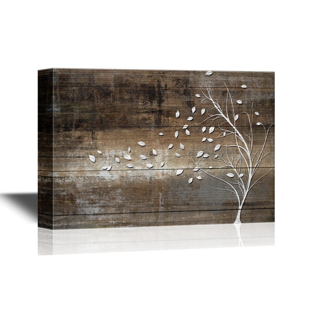 30e1dd08c5f Canvas Art. Abstract Tree Leaves Blown Away by Wind from White Tree on  Vintage Wood Style Background