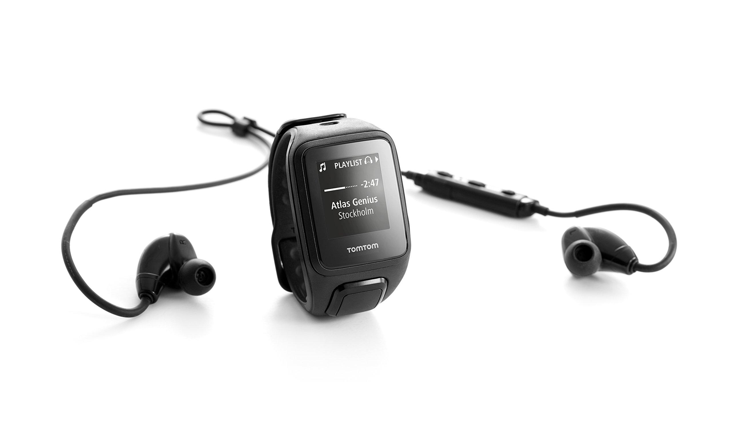 TomTom Spark Music + Headphones, GPS Fitness Watch + 3GB Music Storage + Bluetooth Headphones (Small, Black)