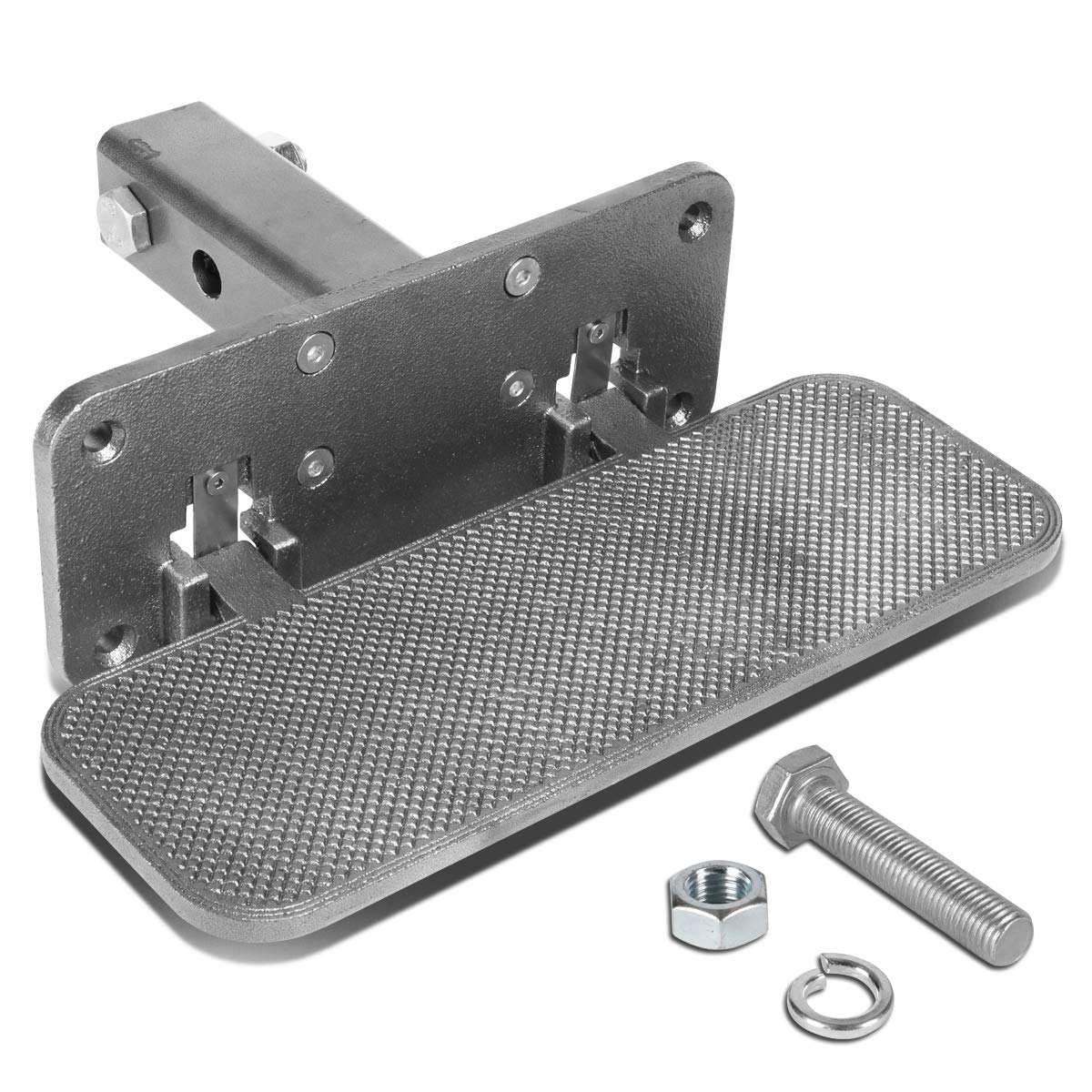 Silver 14 Inches Wide Aluminum Foldable Hitch Step Board for 2 Inches Receiver Pickup Truck SUV by Auto Dynasty