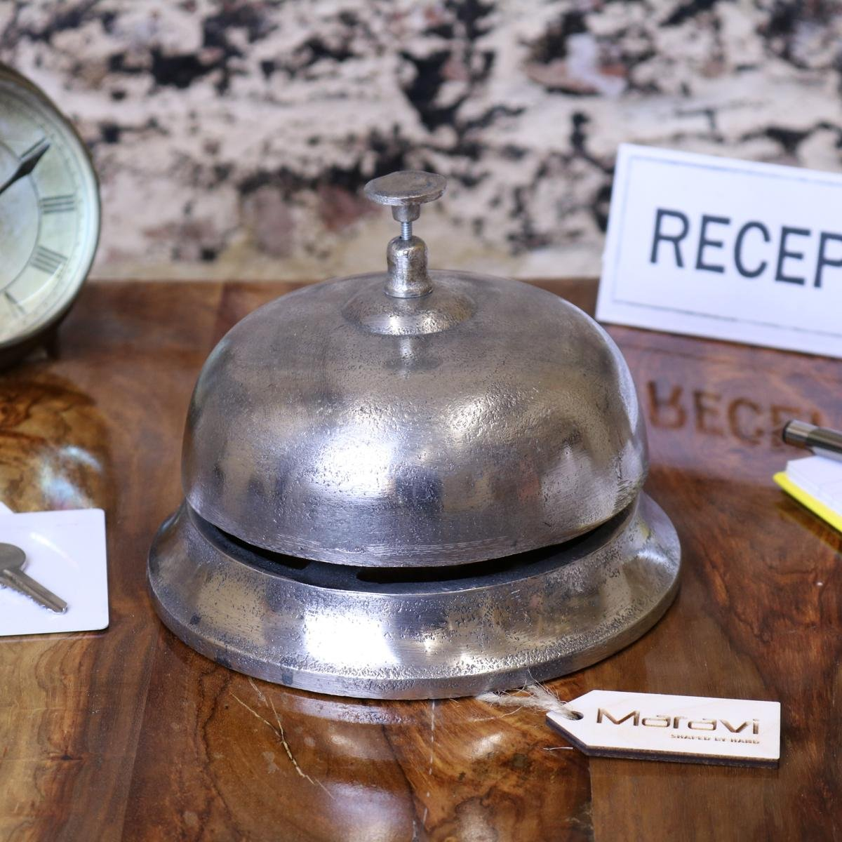 Maravi Tirsuli Large Vintage Reception Bell Hotel Silver Distressed Aluminium 17cm by Maravi