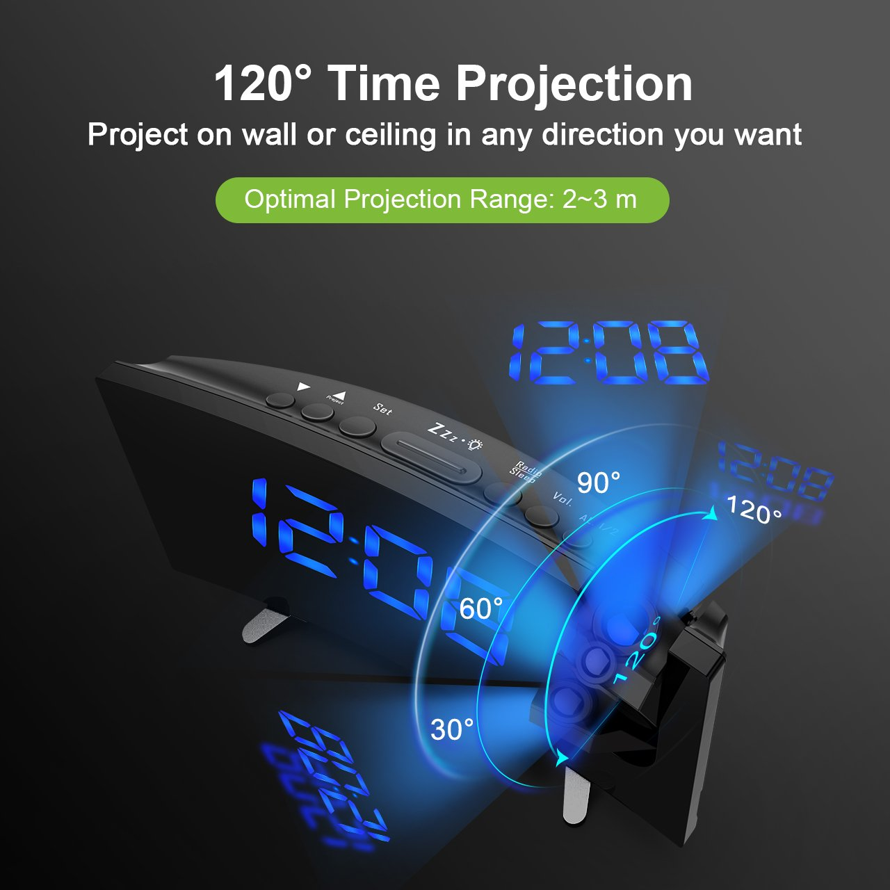 Radio despertador con proyector regulable, FM Reloj con dobles ...