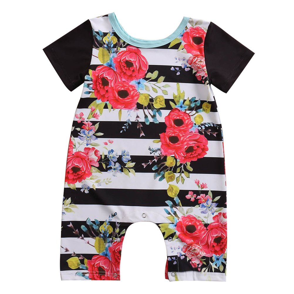 Toddler Unisex Baby Boy Girl Clothes Short Sleeve Striped Floral Romper Jumpsuit Floral)