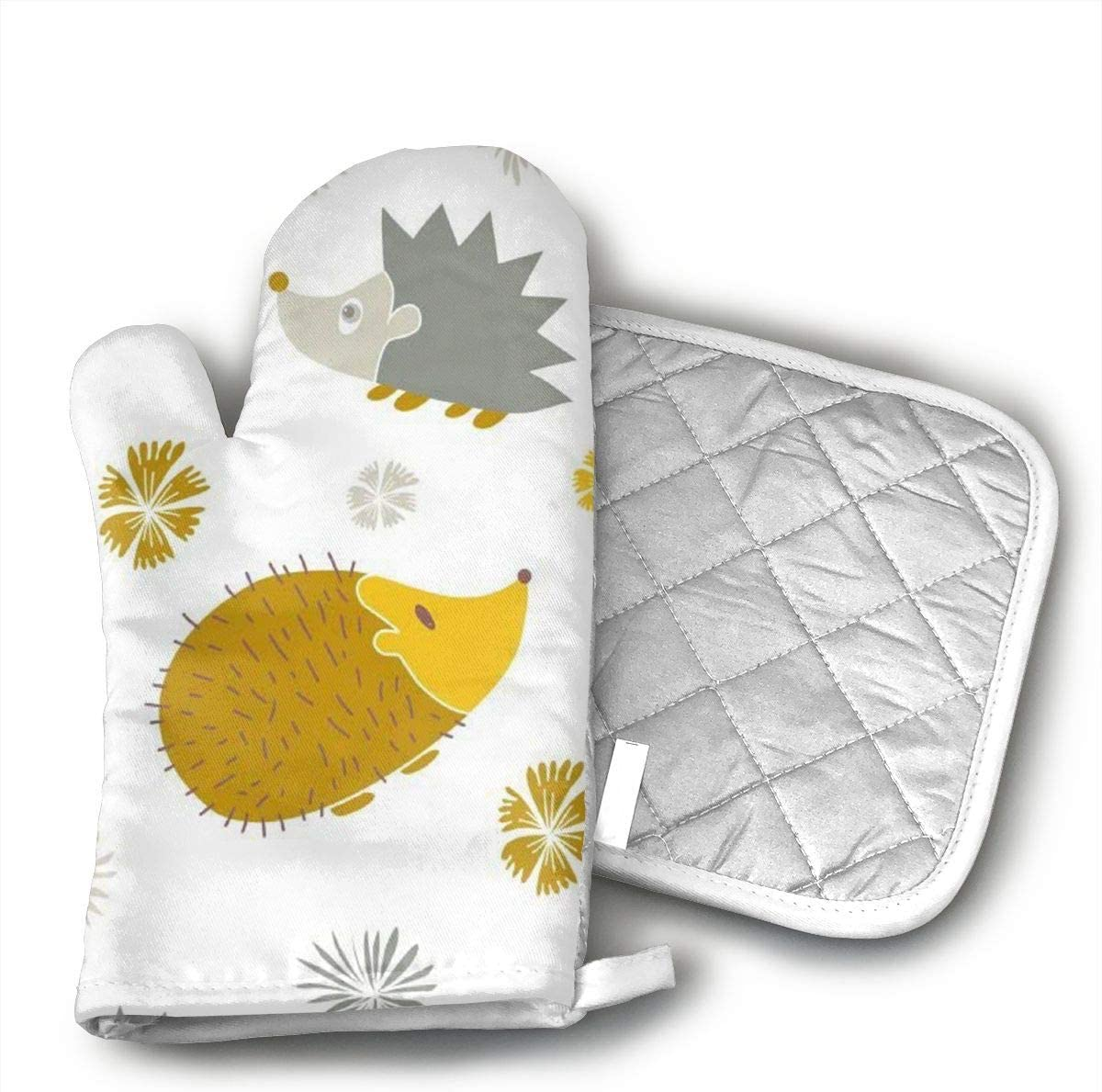 QEDGC Yellow Gray Hedgehog Cotton Oven Mitts Pot Holders Set - Kitchen Oven Mitt Heat Resistant, Non-Slip Grip Oven Gloves PotholderCooking,Baking & BBQ,