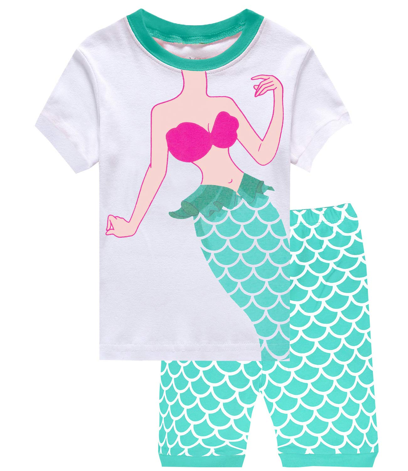 Little Pajamas Mermaid Sleepwear 100% Cotton Summer Short Toddler Pjs Clothes Shirts Awhite/Mermaid 8