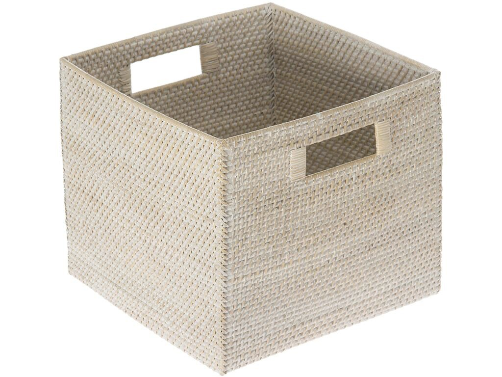 KOUBOO Laguna Square Rattan Storage Basket, White Wash - 13 inches long x 13 inches wide x 11 inches high Hand Woven from rattan Finished with coating of clear lacquer - living-room-decor, living-room, baskets-storage - 71mZJPDIyML -