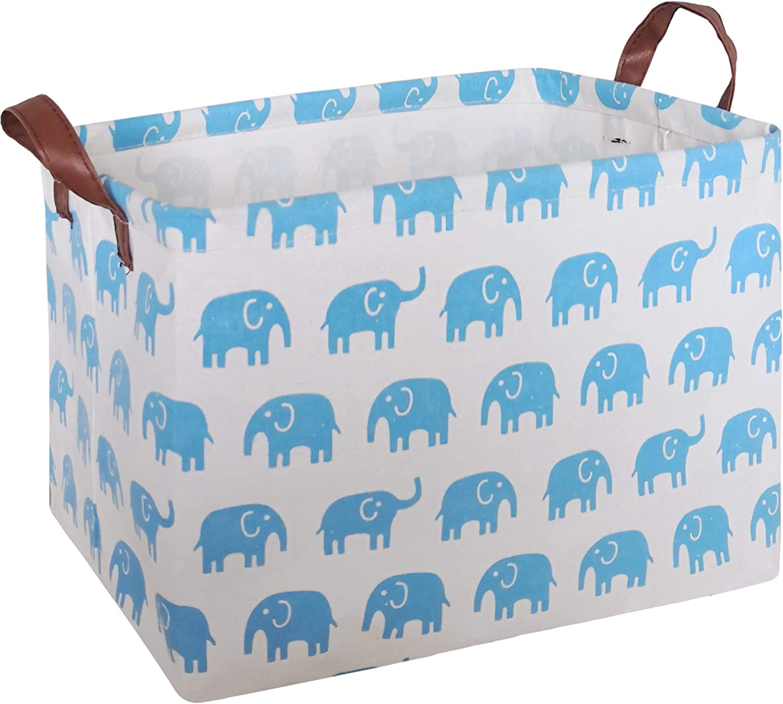 Grey Elephant CLOCOR Rectangular Storage Basket,Collapsible Cute Pattern Storage Bin,Waterproof Coating Storage Box with Handles for Home Organization,Toy Organizer,Shelf Basket