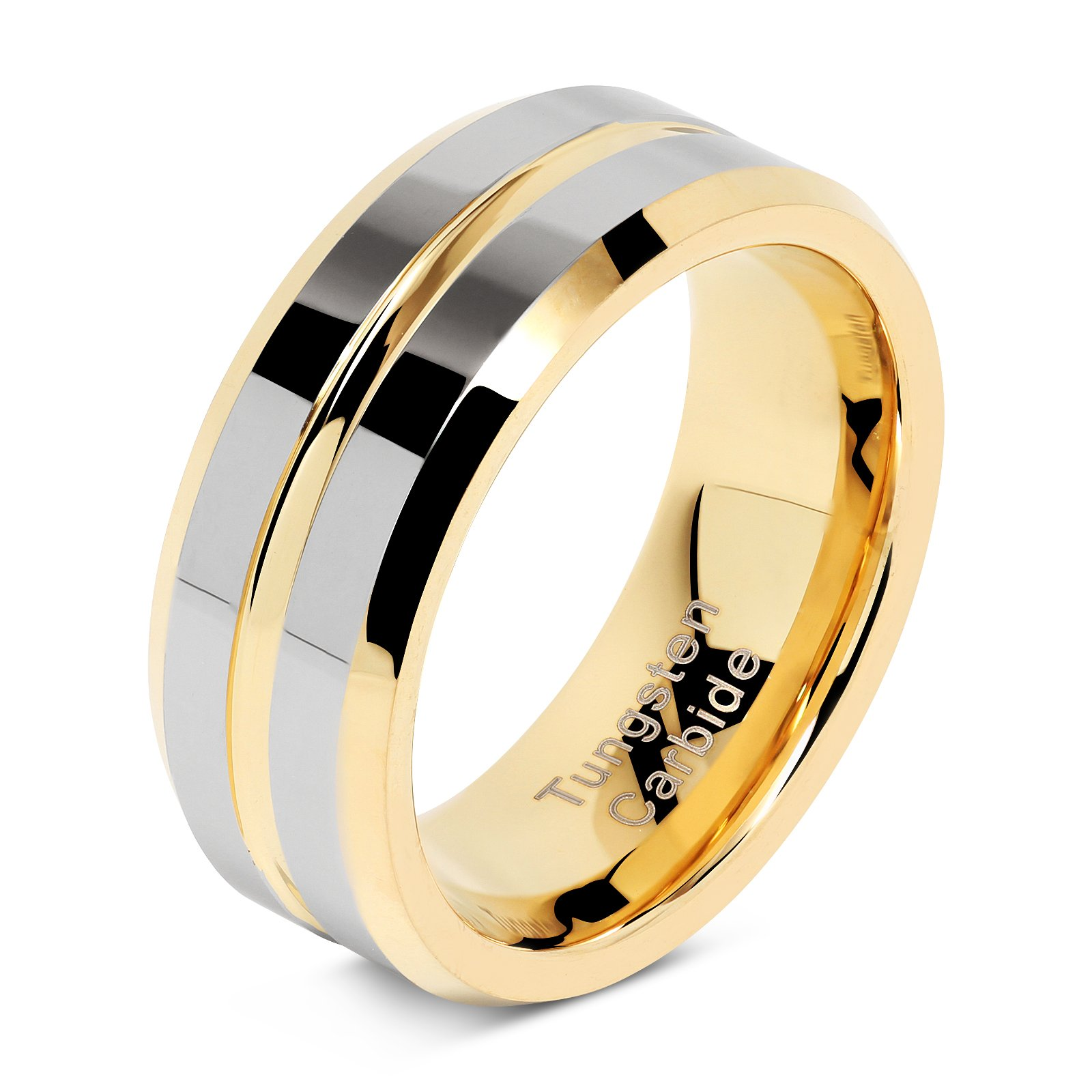 Tungsten Rings for Mens Wedding Bands Gold Silver Two Tone Grooved Center Line Size 8-15 (13) by 100S JEWELRY (Image #1)