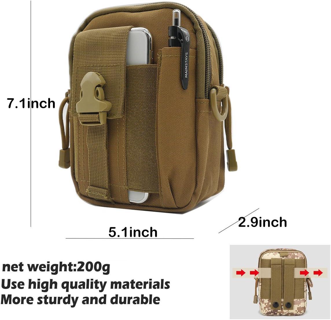Sevenpicks Tactical Waist Pack Sac Polyvalent EDC Pouch Utility Version am/élior/ée avec Sangle Camping Randonn/ée Pouch Nylon Cell Phone Sac