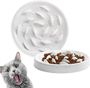Deioxhy Slow Feeder Cat Bowl to Slow Down Eating Training, Anti Choking Gulping Bloat Indigestion Obesity Dog Cat Food Bowl, Non-Toxic Eco-Friendly Pet Slow Feed Bowl, White