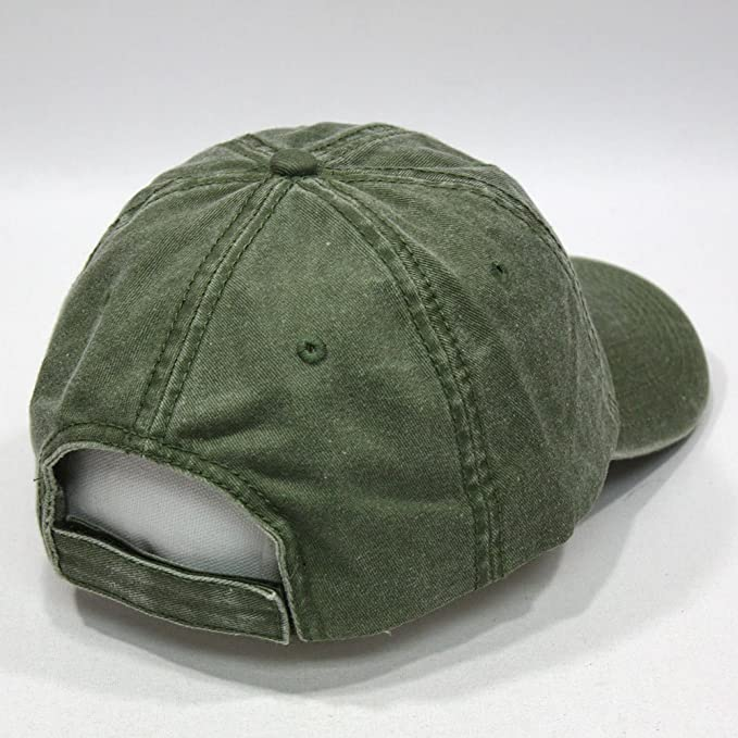 0d36e4be84a Vintage Washed Cotton Adjustable Baseball Cap + FREE Sew Iron on Camper  Patch (70 Olive Green) at Amazon Men s Clothing store
