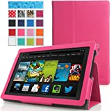 MoKo Amazon Kindle Fire HD 7 2013 Case - Slim Folding Case for Fire HD 7.0 Inch 3rd Generation Tablet, Magenta (With Smart Cover Auto Wake / Sleep)