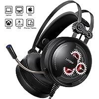 LATOW Auriculares Gaming con Micrófono, Cascos Juegos Estéreo de 50mm Drive para PS4/Xbox One/Switch/Pad/PC, Auriculares con Cancelación de Ruido, Sonido Envolvente Bajo, Protectores Auditivos Suaves